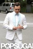 Ed Westwick wore a white suit to film Gossip Girl in NYC.