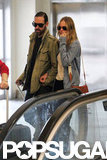 Kate Bosworth and Michael Polish stepped onto an escalator.