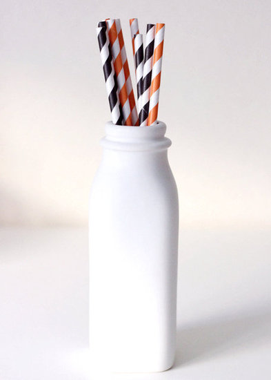 Black-and-Orange Paper Straws