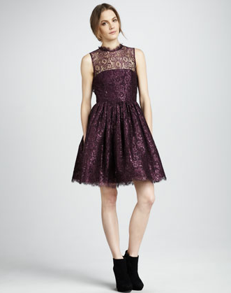 This perfectly girlie Alice + Olivia Ophelia Shimmery Lace Dress ($495) marries lace, Fall's rich burgundy hue, and a touch of metallics all in one standout piece.
