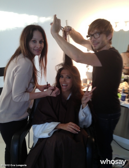 Eva Longoria prepped for a shoot with stylist Ken Paves. Source: Eva Longoria on WhoSay