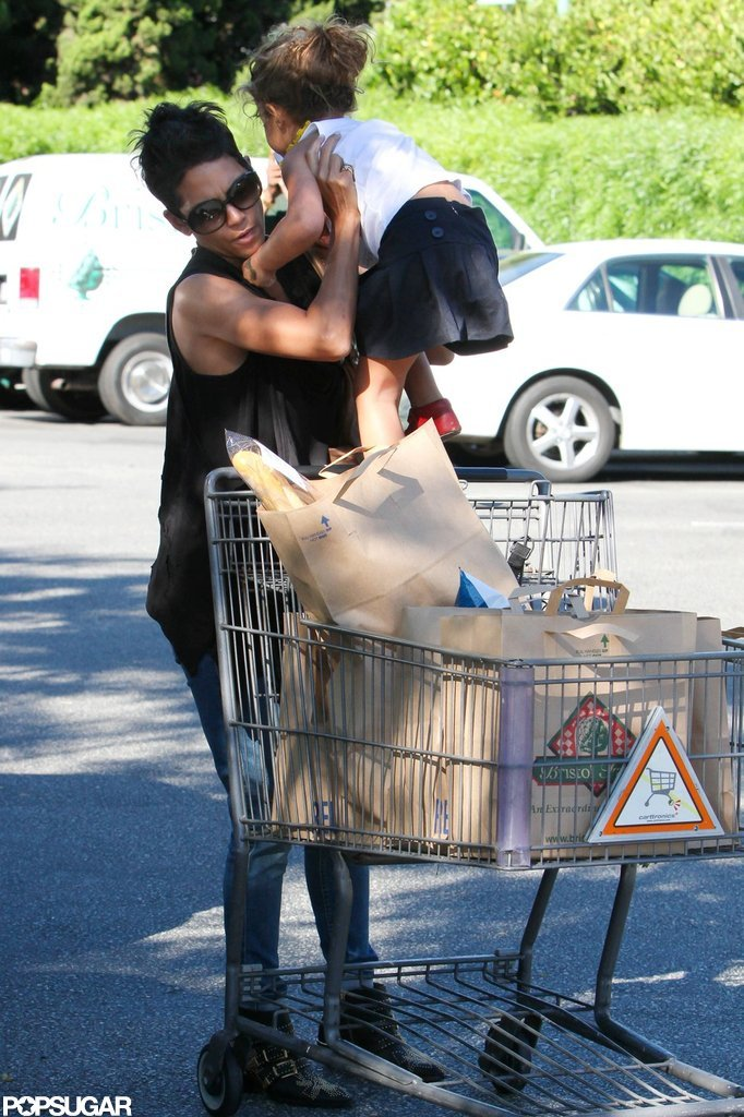 Nahla Aubry joined Halle Berry at the grocery store.