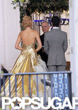 Blake Lively's gold wedding dress on the set of Gossip Girl.