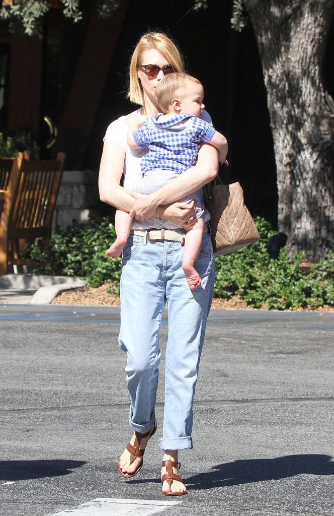 January Jones walked through a Pasadena parking lot with Xander Jones.