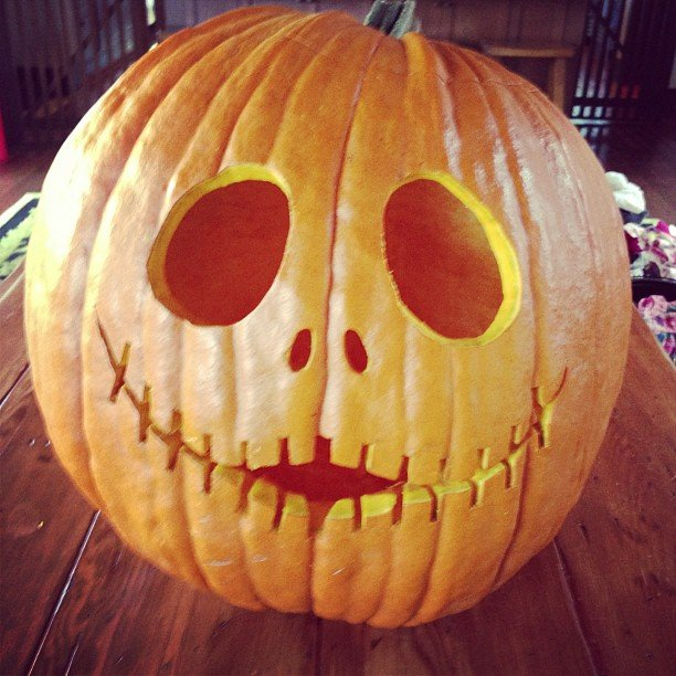 Pink carved a spooky pumpkin. Source: Instagram user pink