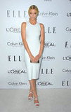 Jaime King stepped out in a sleek white sheath and crisscross platforms.