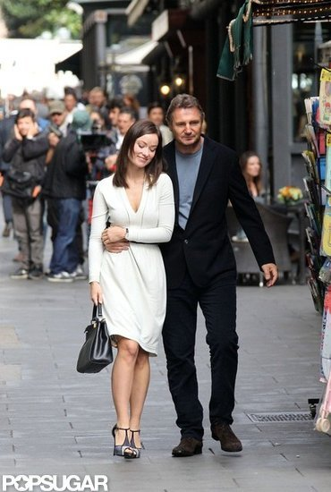 Olivia Wilde and Liam Neeson Take an On-Set Stroll in Rome