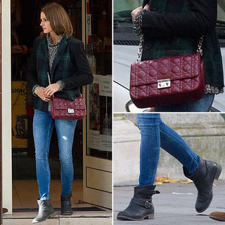 Olivia Palermo Wears a Plaid Blazer and Dior Bag in Paris
