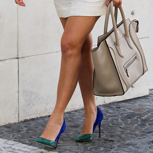 Kourtney Kardashian Wearing Green and Blue Pumps