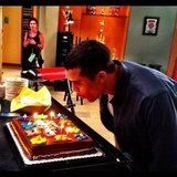 Jacob Artist tried to blow out the trick candles on his birthday cake. Source: Instagram user chordover