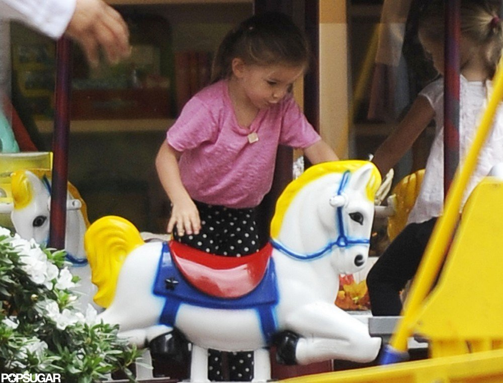 Seraphina Affleck took a ride on a play horse in LA.