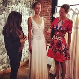 Style Director Noria Morales led us through a sneak peek of the Temperley bridal collection in October.
