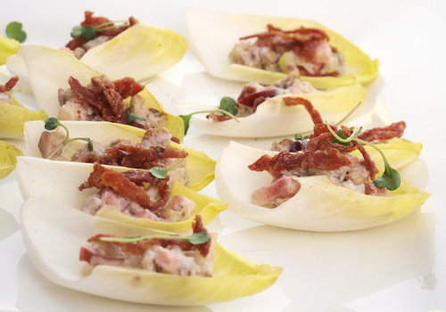 Endive Boats With Crispy Salame Strips