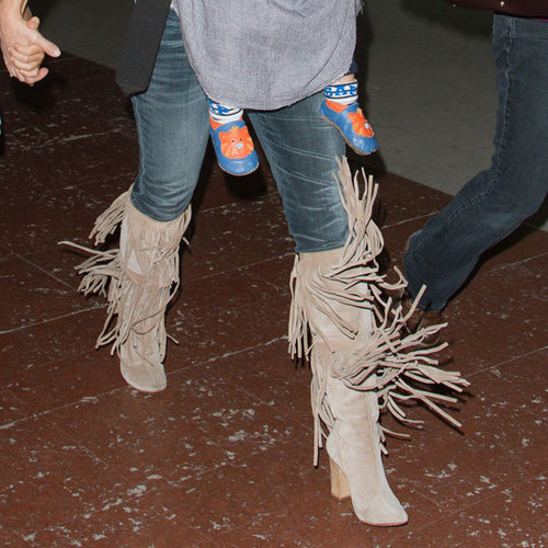 Kate Hudson Wearing Fringe Boots