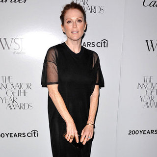 Julianne Moore Wearing Black T-Shirt Dress