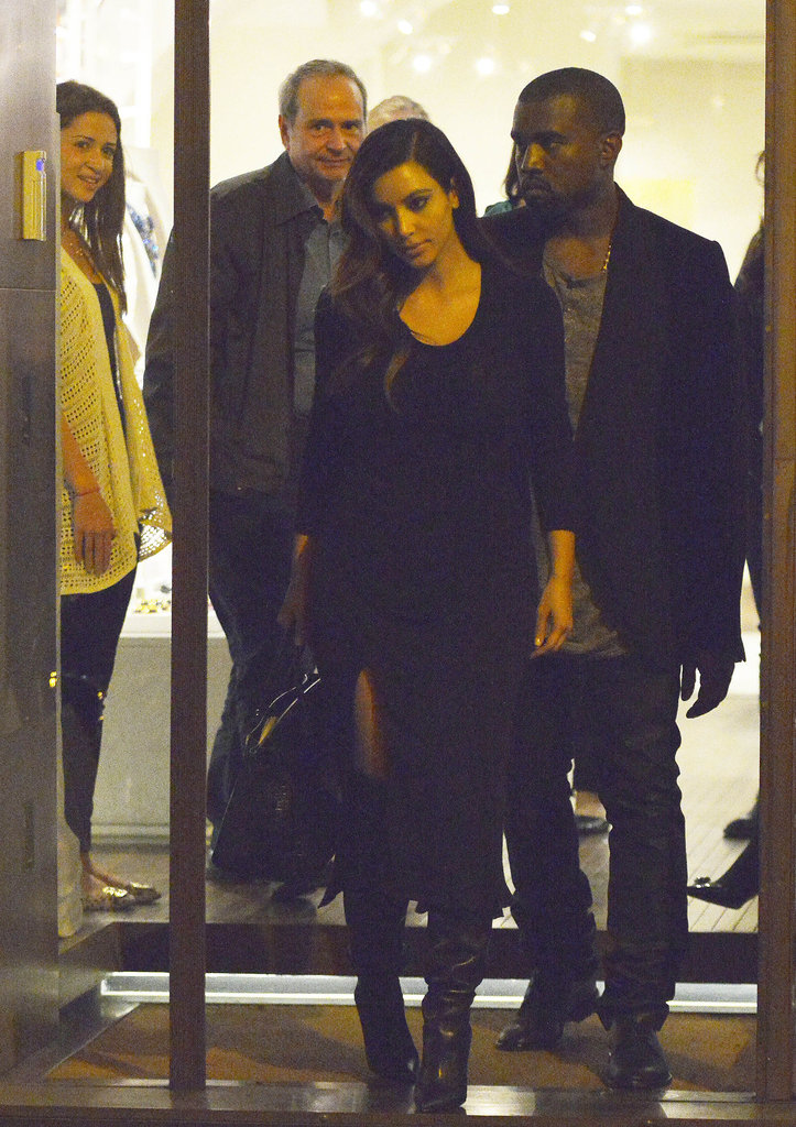 Kim Kardashian and Kanye West both wore black for their night out.