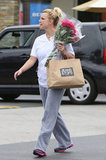 Britney Spears carried her flowers.