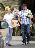 Britney Spears wore sweatpants and a white t-shirt.
