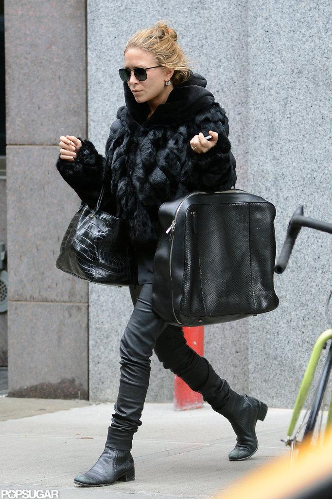 Mary-Kate Olsen had a bag on each arm.