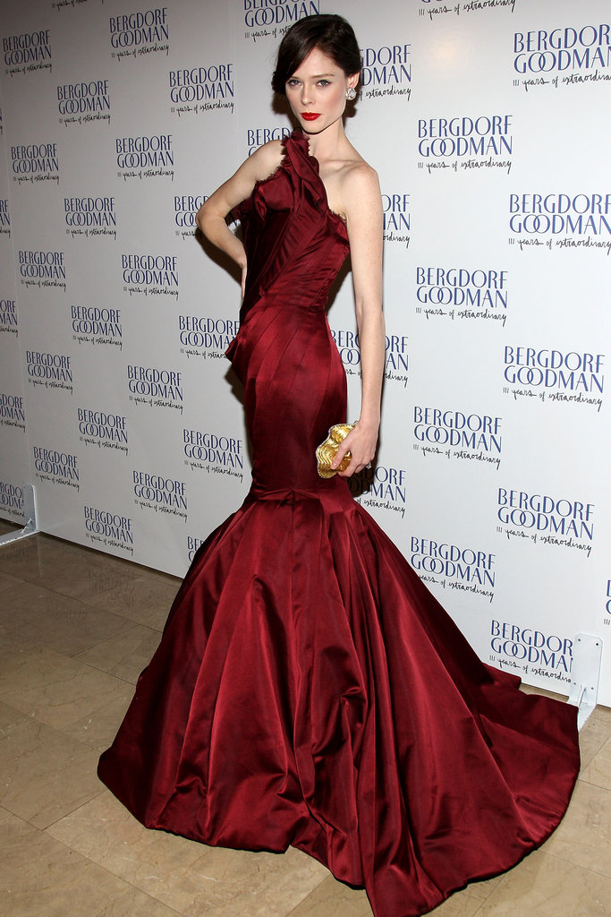 Coco Rocha posed in Zac Posen at the Bergdorf Goodman 111th Anniversary Celebration in NYC.