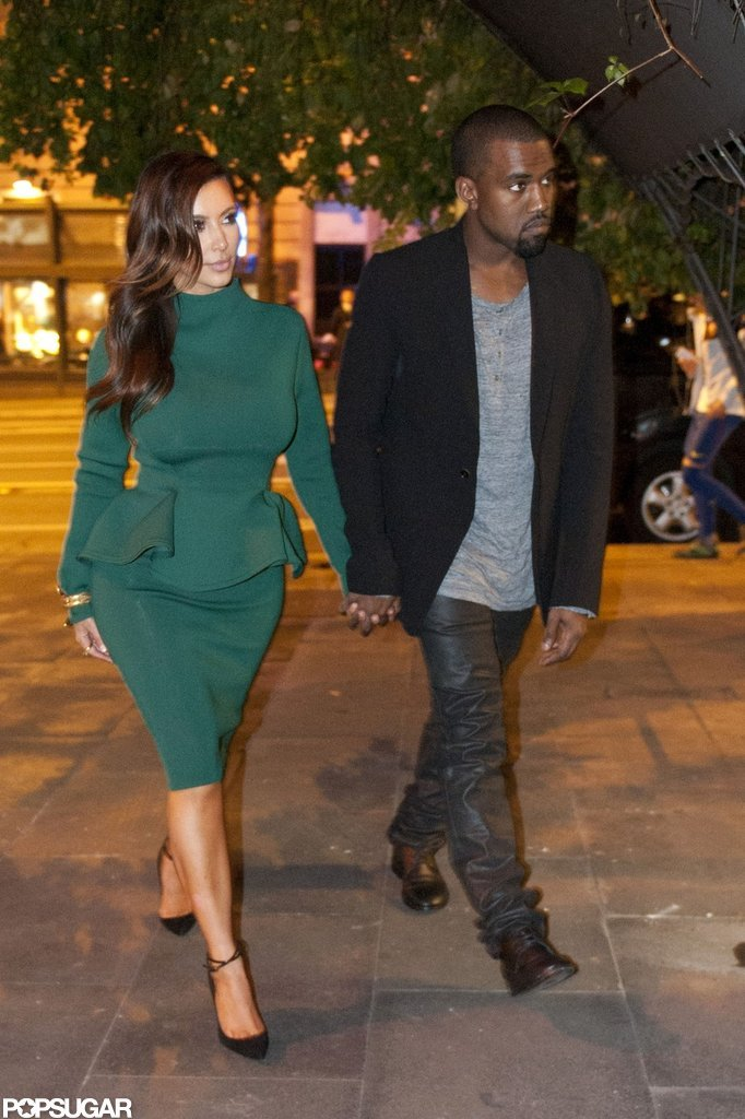 Kim Kardashian and Kanye West walked hand in hand in Rome.