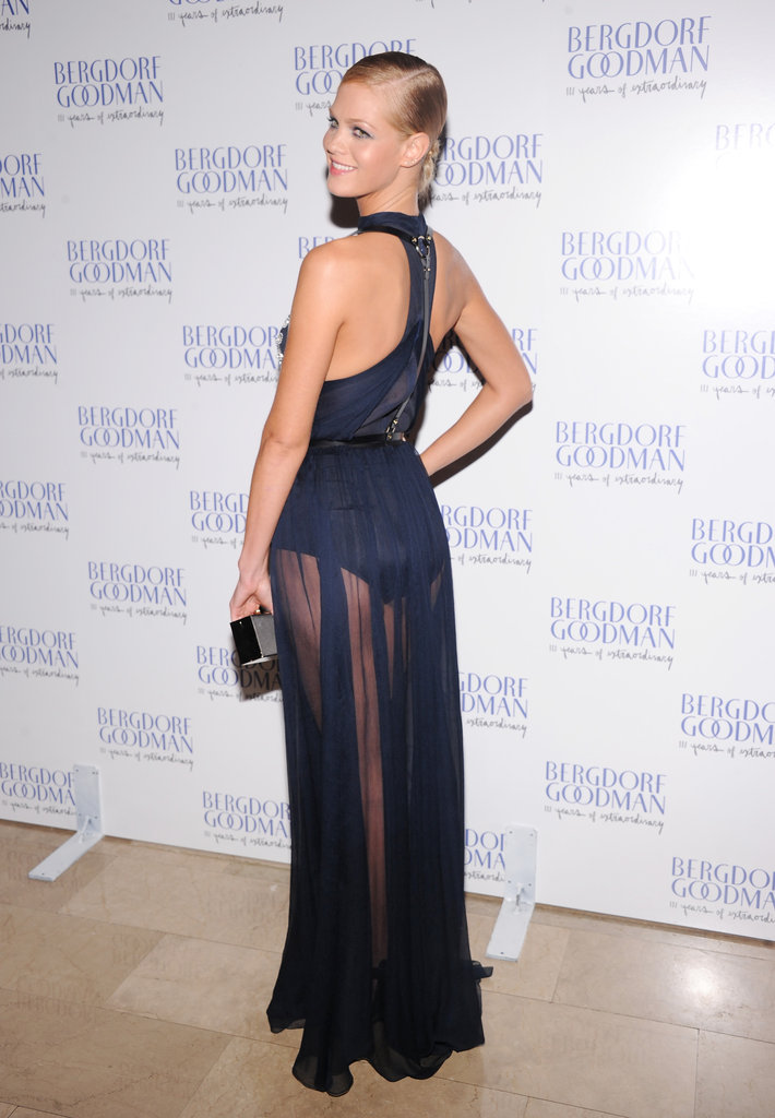 Erin Heatherton posed in a Jason Wu gown to attend the Bergdorf Goodman 111th Anniversary Celebration in NYC.