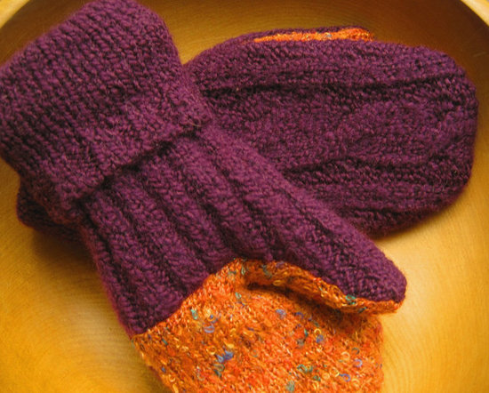 Plum Orange Mittens