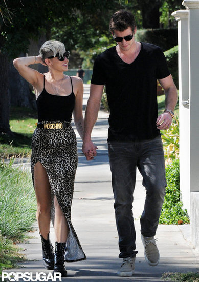 Miley Cyrus and Liam Hemsworth went for a stroll.