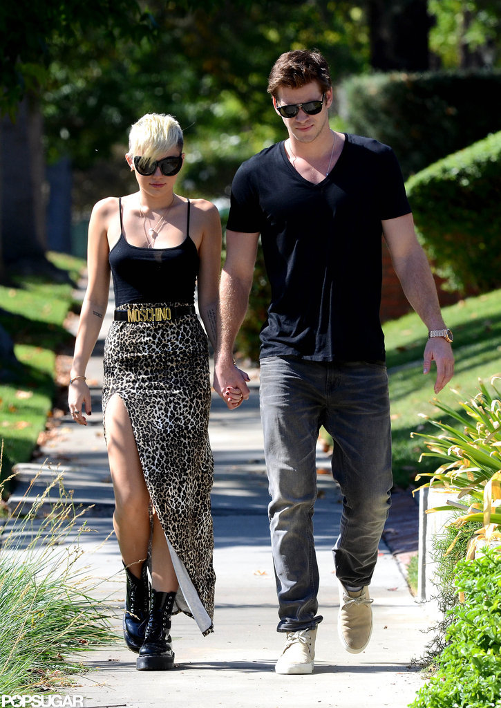 Miley Cyrus and Liam Hemsworth walked in LA.