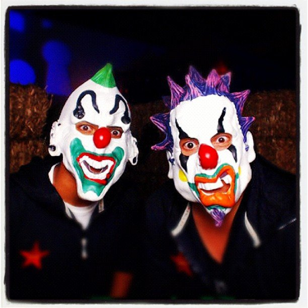 Connor Cruise and his friend wore freaky masks.  Source: Instagram user c_cruise