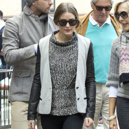 Olivia Palermo Wearing Leather-Sleeve Blazer