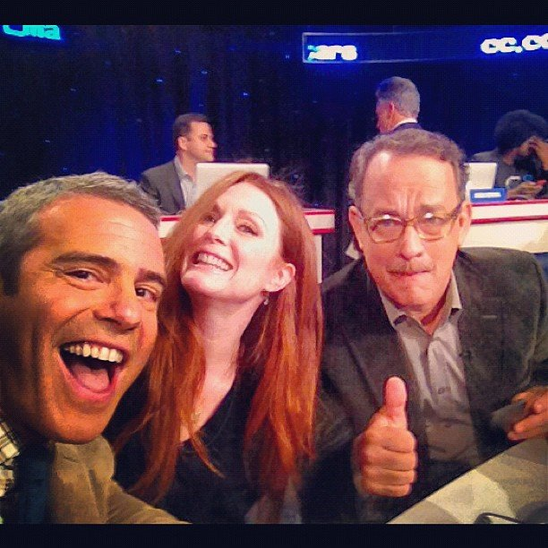 Andy Cohen made friends with Julianne Moore and Tom Hanks at a telethon. Source: Instagram user bravoandy