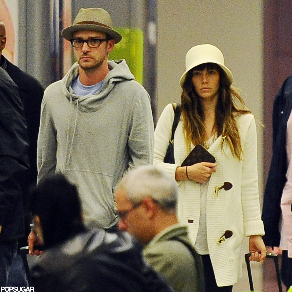 Justin Timberlake and Jessica Biel were out at the airport in Italy.