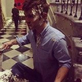 Chace Crawford ate cake on set.  Source: Facebook user Chace Crawford