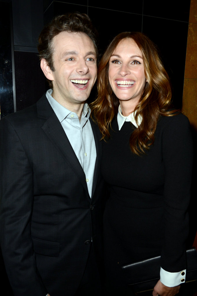 Julia Roberts and Michael Sheen had matching smiles at an LA event in April 2012.