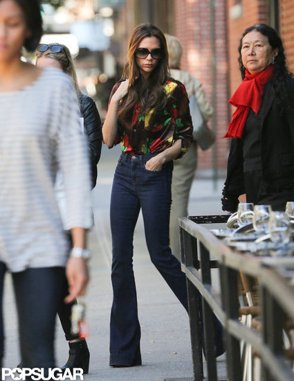 Victoria Beckham wore denim in NYC.