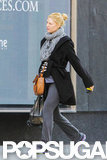 Claire Danes's baby bump was showing under her black jacket in Toronto.