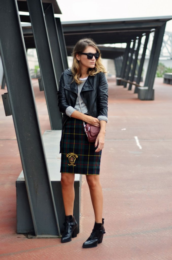 This styler knew just how to give a vintage skirt a fresh update with a leather jacket and edgier ankle boots. Source: Lookbook.nu
