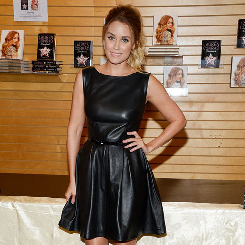 Lauren Conrad Wearing Black Leather Dress