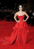 Bérénice Marlohe wore a red gown on the red carpet of  Skyfall's London premiere.