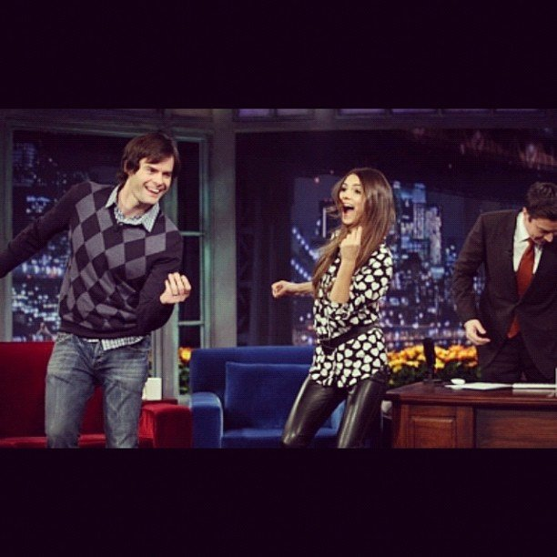 Victoria Justice got down with Bill Hader on Late Night With Jimmy Fallon. Source: Instagram user victoriajustice
