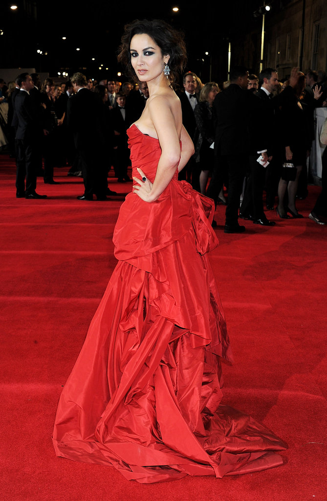Bérénice Marlohe wore a bright red gown for Skyfall's London premiere.