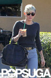 Miley Cyrus picked up a coffee at Starbucks with Liam Hemsworth.