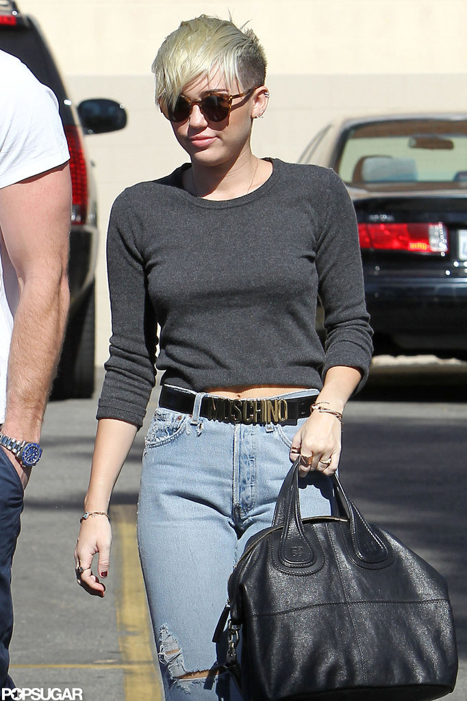 Miley Cyrus wore a Moschino belt for an outing in LA.