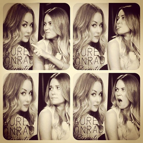 Lauren Conrad made funny faces at her own book cover. Source: Instagram user laurenconrad