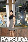 Pippa Middleton wore a sleeveless dress in London.