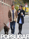 Anne Hathaway stepped out with her husband Adam Shulman and their dog in Brooklyn.