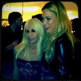 Bar Refaeli posed with Donatella Versace at the Versace store opening. Source: Instagram user barrefaeli