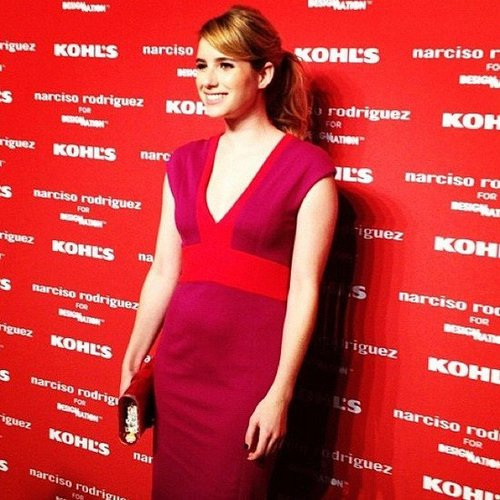 Emma Roberts also came out to support the Narciso Rodriguez for Kohl's collection in a dress from the line.