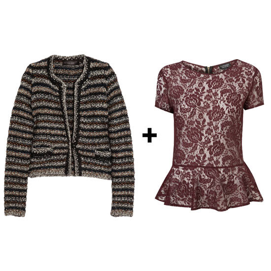 Play with textures and mix a nubby striped cardigan with a lace peplum top. Just make sure the cardigan is slightly cropped, so the peplum will stick out underneath just perfectly so.  Isabel Marant Barte Stripe Knit Cardigan ($765) Topshop Lace Peplum Top ($72)